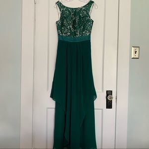 Dark green lace and chiffon evening gown